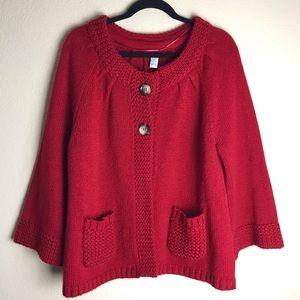 Style & Co. Red Button Down Sweater Size XL.